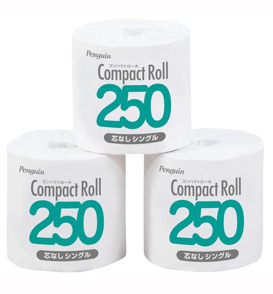 トイレットペーパー コンパクトロール250 [芯なし・シングル]