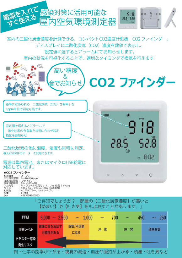 屋内空気環境測定器 CO2ファインダー